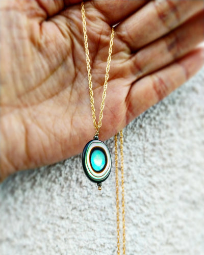 Oval Abalone pendant necklace