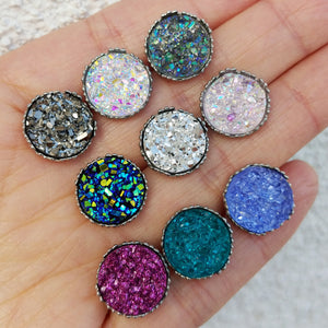 12mm faux druzy silver crown