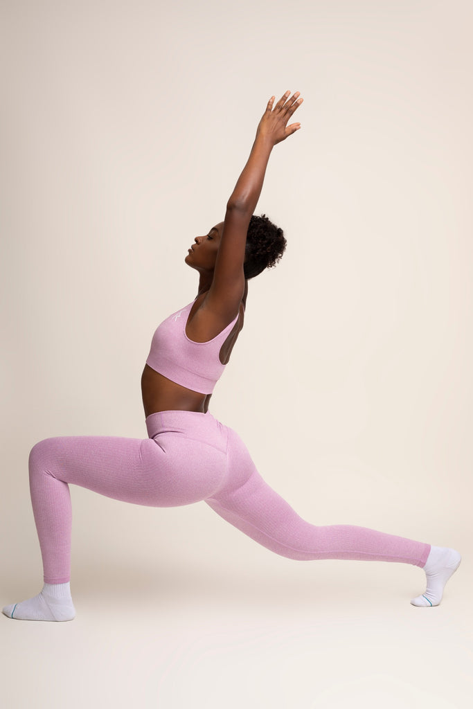 Malaika Ribbed Seamless Legging in Blush