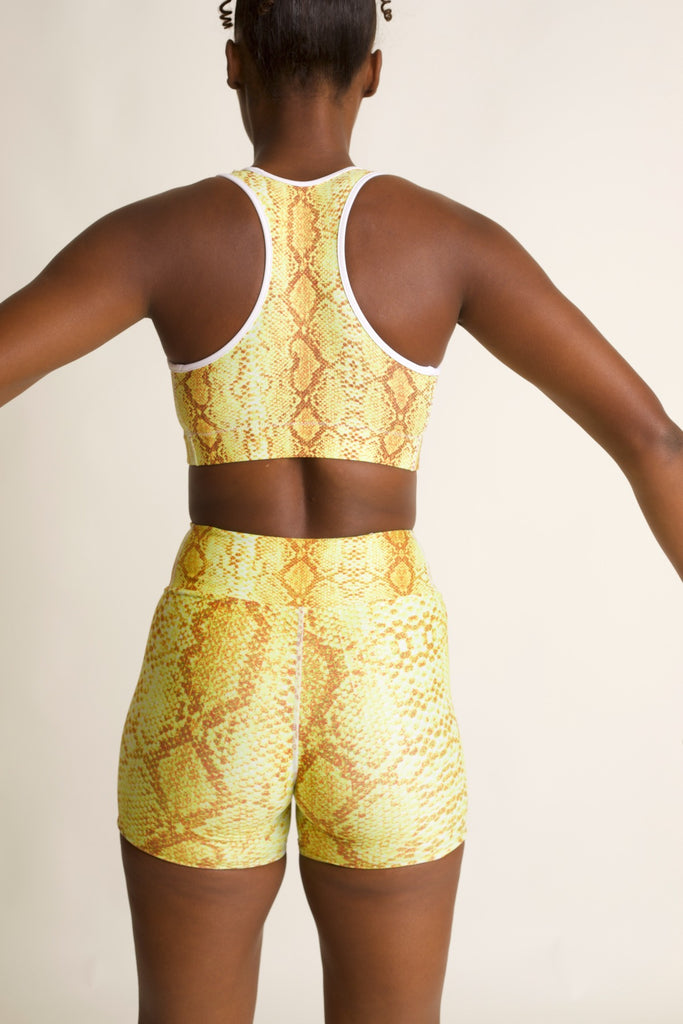 "Yellow 'Safi"" Snake Print Yoga Shorts"