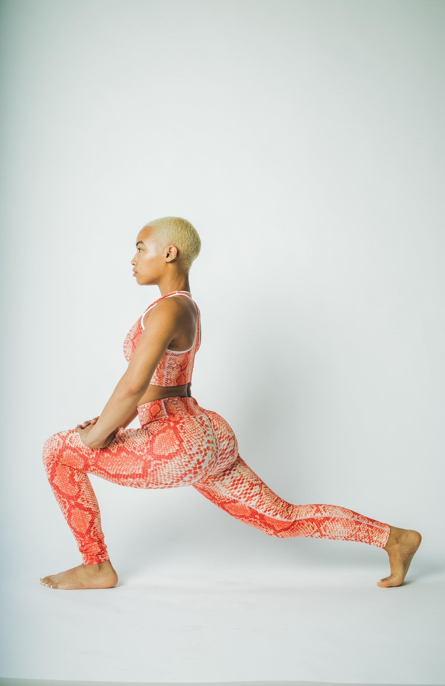 Orange 'Safi' Snake Print Yoga Leggings