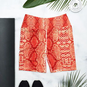 "Orange 'Safi"" Snake Print Yoga Shorts"