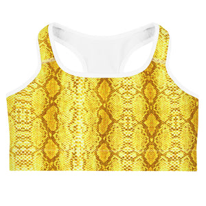 "Yellow 'Safi"" Snake Print Sports Bra"
