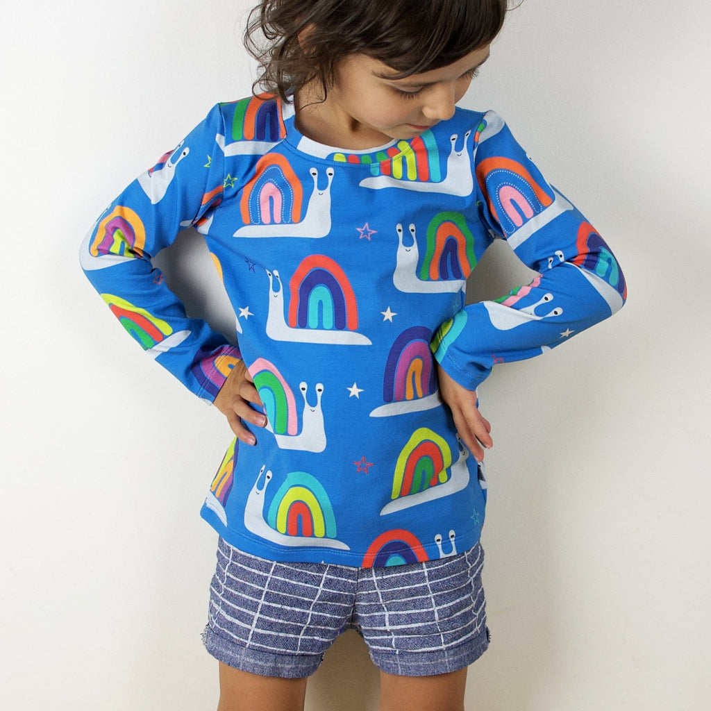 Kids long sleeve top - Rainbow snails | handmade in Australia | scandinavian retro clothing for kids