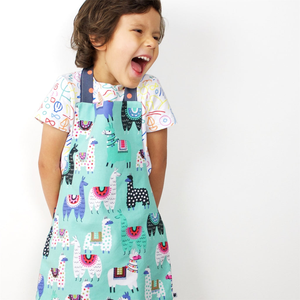 Kids Reversible Apron - Llamas/Party Bears