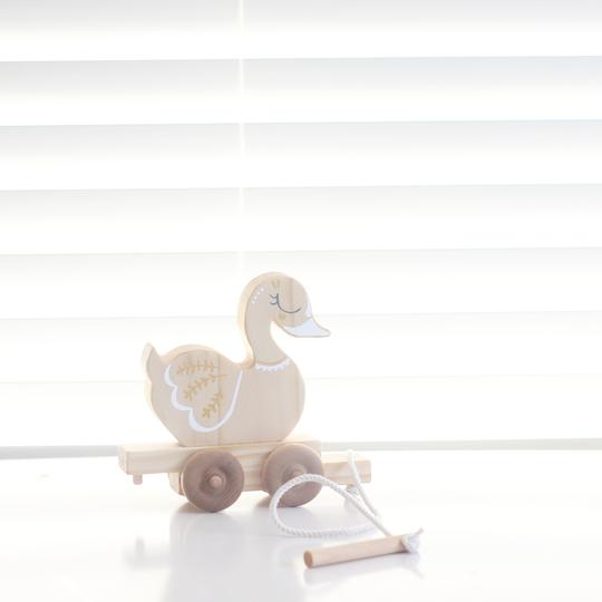 Wooden children's pulltoy - Swan | From the Art - Swanny travel buddy | Handmade wooden toys