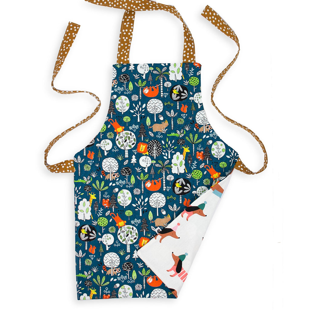 Kids Reversible Apron - Sausage Dogs/Jungle