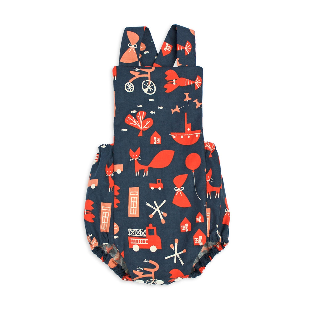 Baby romper - red commotion | Handmade in Australia | Moeder Fox