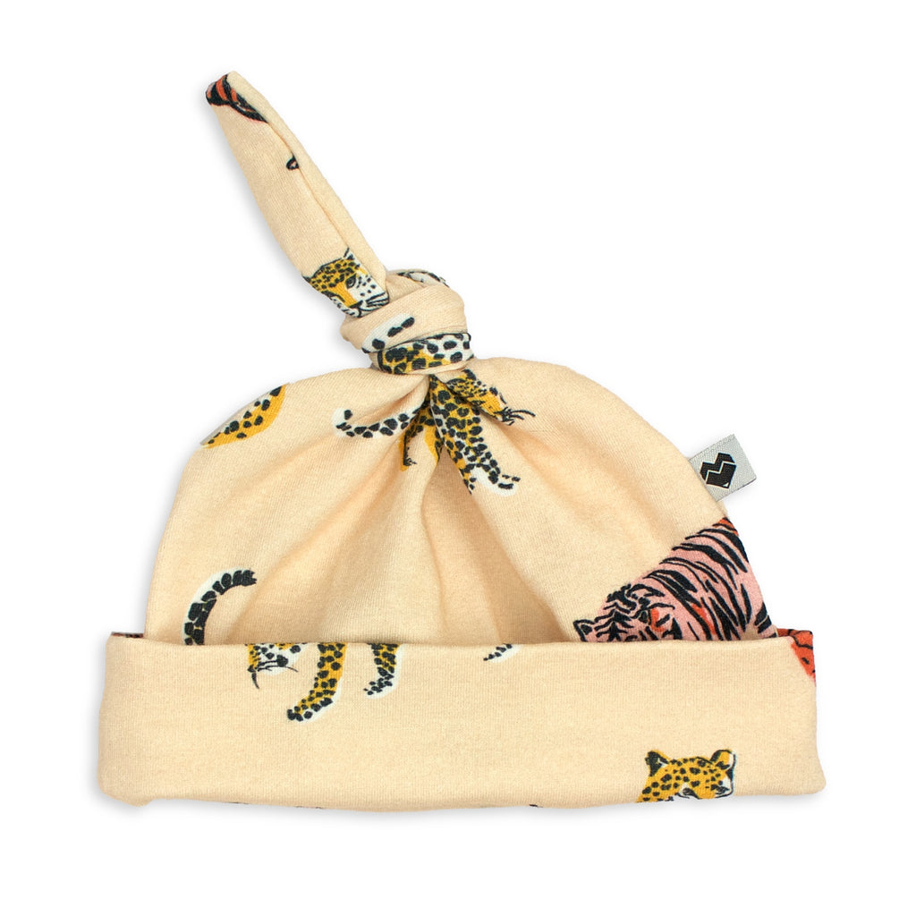 Top Knot Baby Beanie - Big Cats