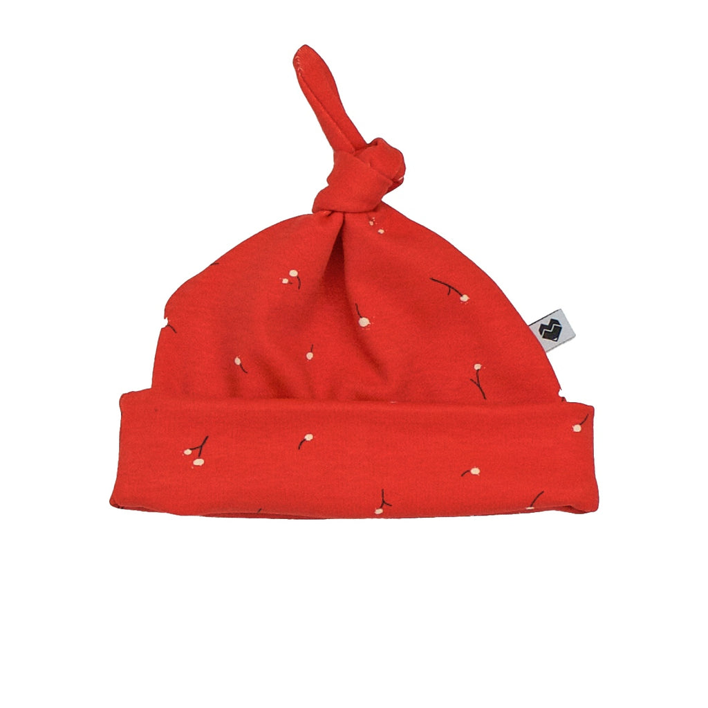 Organic Top Knot Baby Beanie - Red Wishes