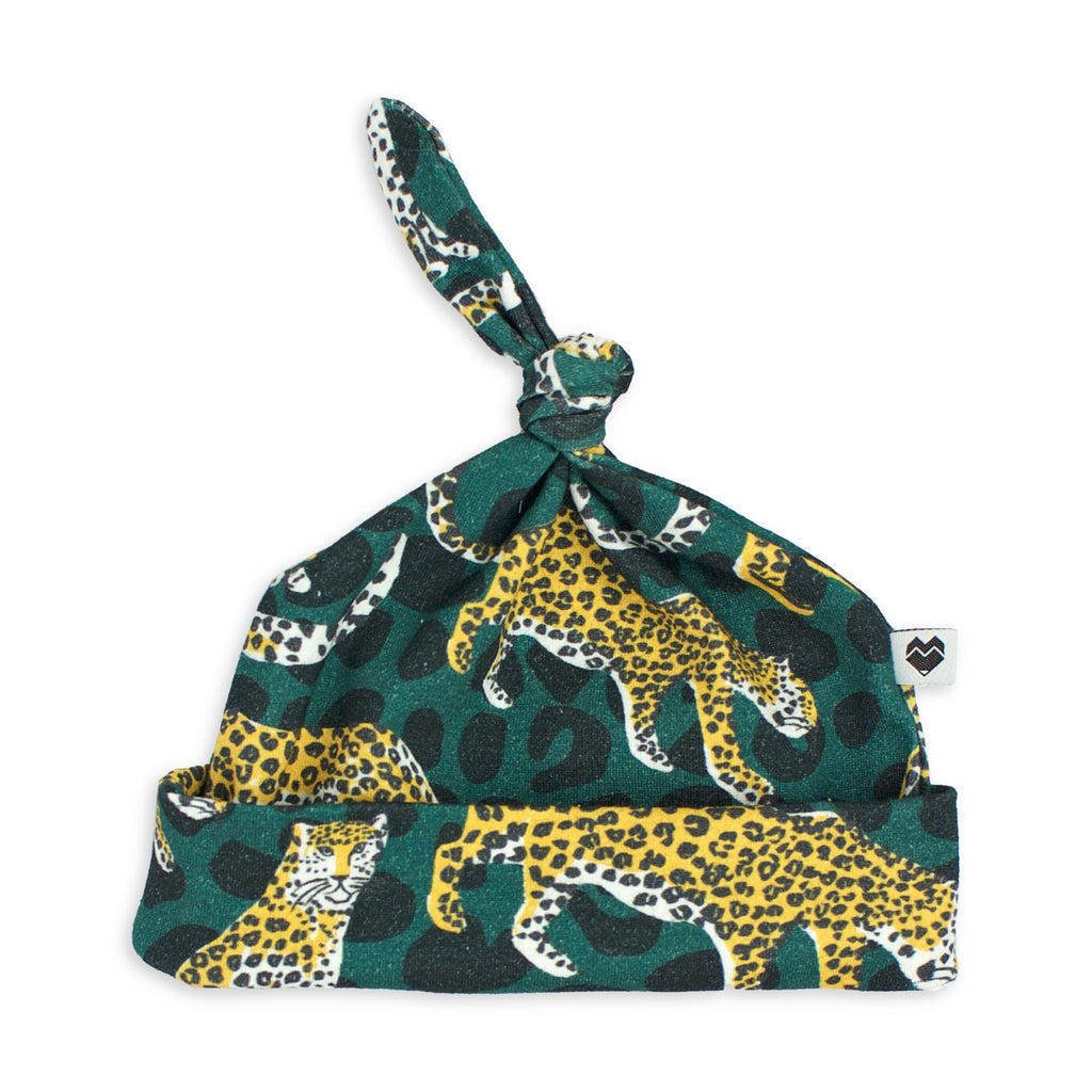 Top Knot Baby Beanie - Leopards