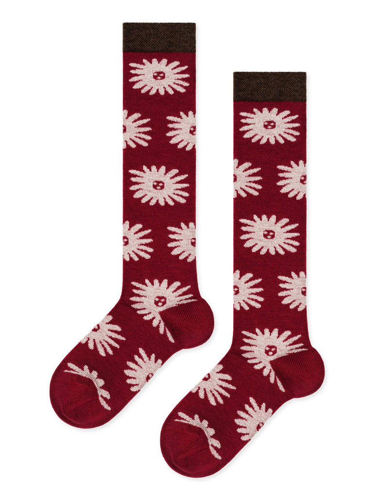 Hansel From Basel - Mini dhalia knee hi berry socks | Moeder Fox