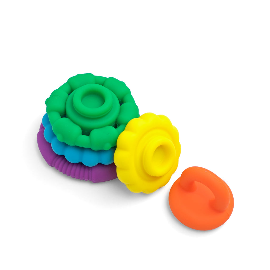Baby Gift Pack - Roosters / Rainbow Stack Teether