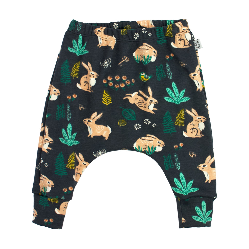 baby harem pants, rabbits bunnies pattern, dusk blue
