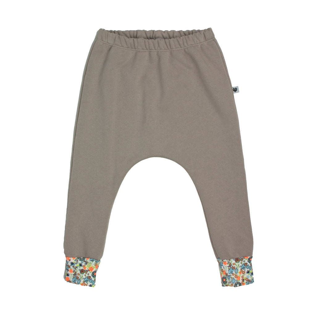 Organic Cotton Fleece Trackies - Essentials Range - Natural Floral
