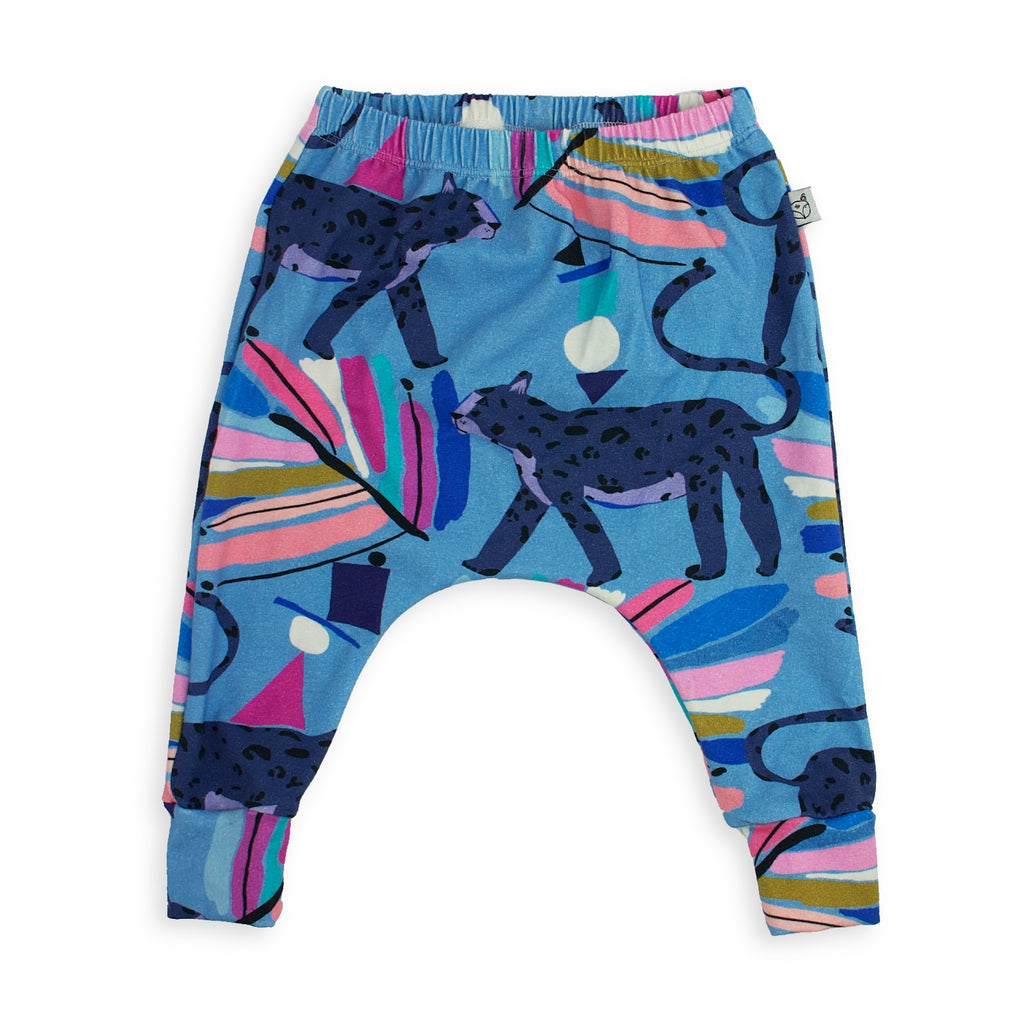 baby harem pants, jungle print, blue colour