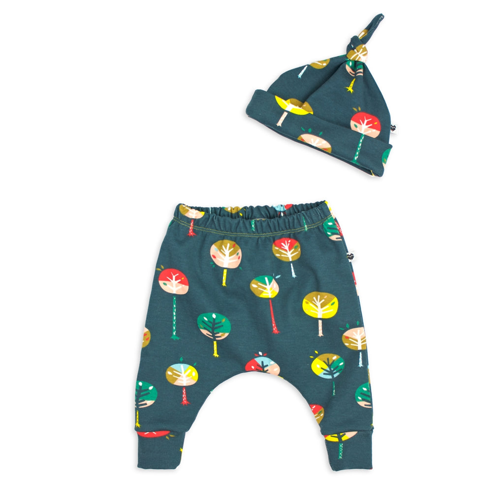 Organic Baby Harem Pants + Beanie Set - Trees | Moeder Fox