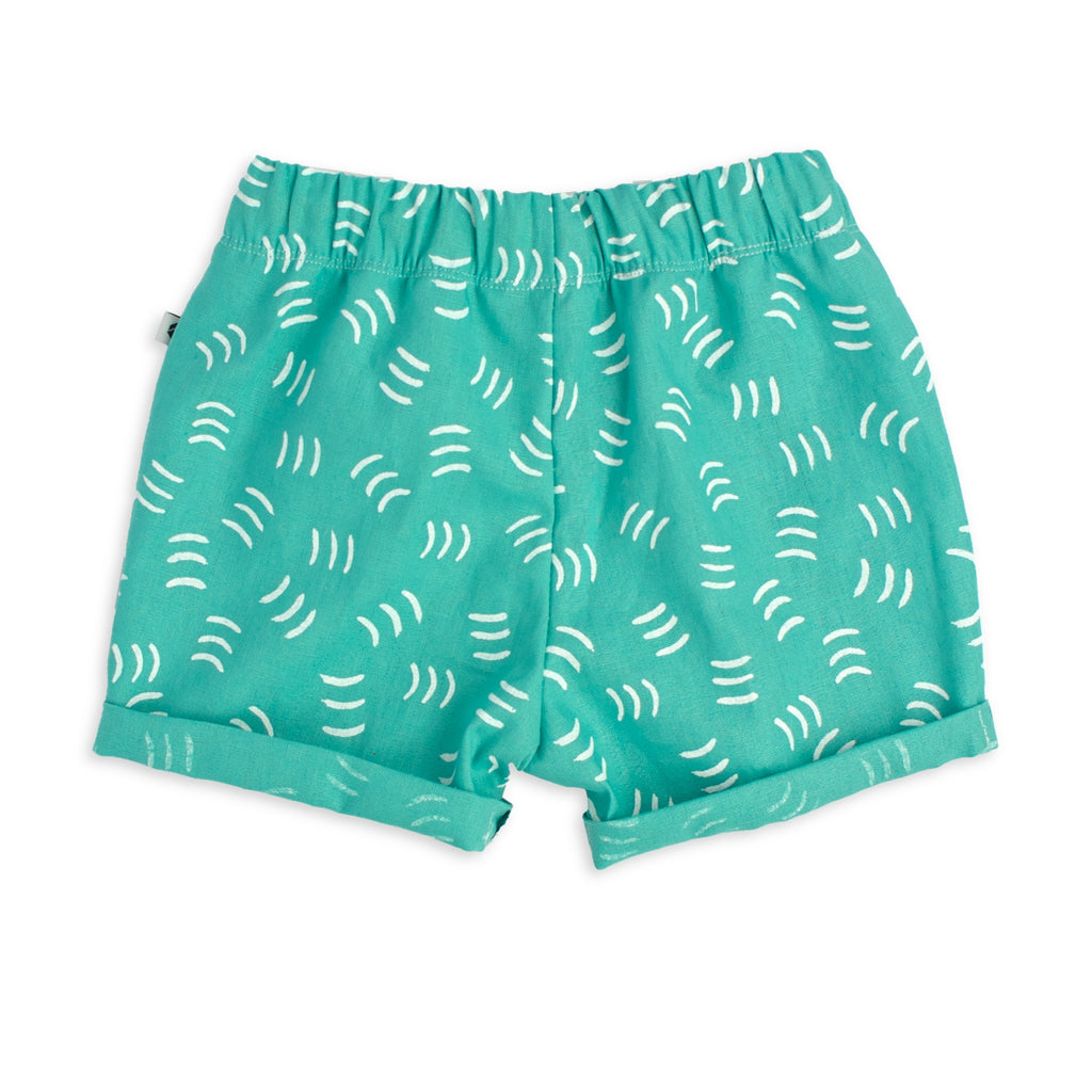 Kids Toddler Shorts - Sound Waves, aqua | handmade in Australia | Moeder Fox