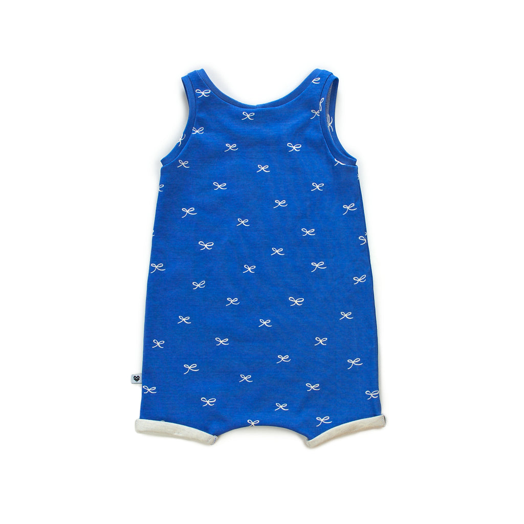 Organic Baby Summer Playsuit - Blue with bows | Moeder Fox