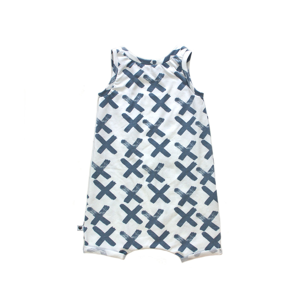Organic Baby Summer Playsuit - White with crosses | Moeder Fox