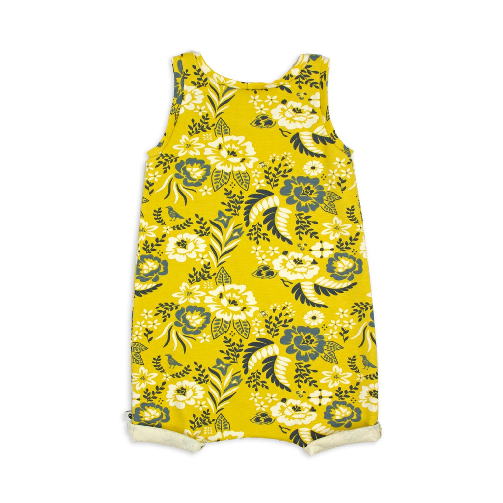 Baby and Toddler Summer Playsuit | Floral Marigold | Moeder Fox
