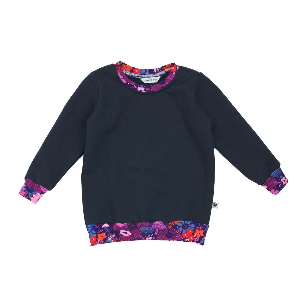 Organic Cotton Fleece Sweater - Essentials Range - Dusk Bouquet