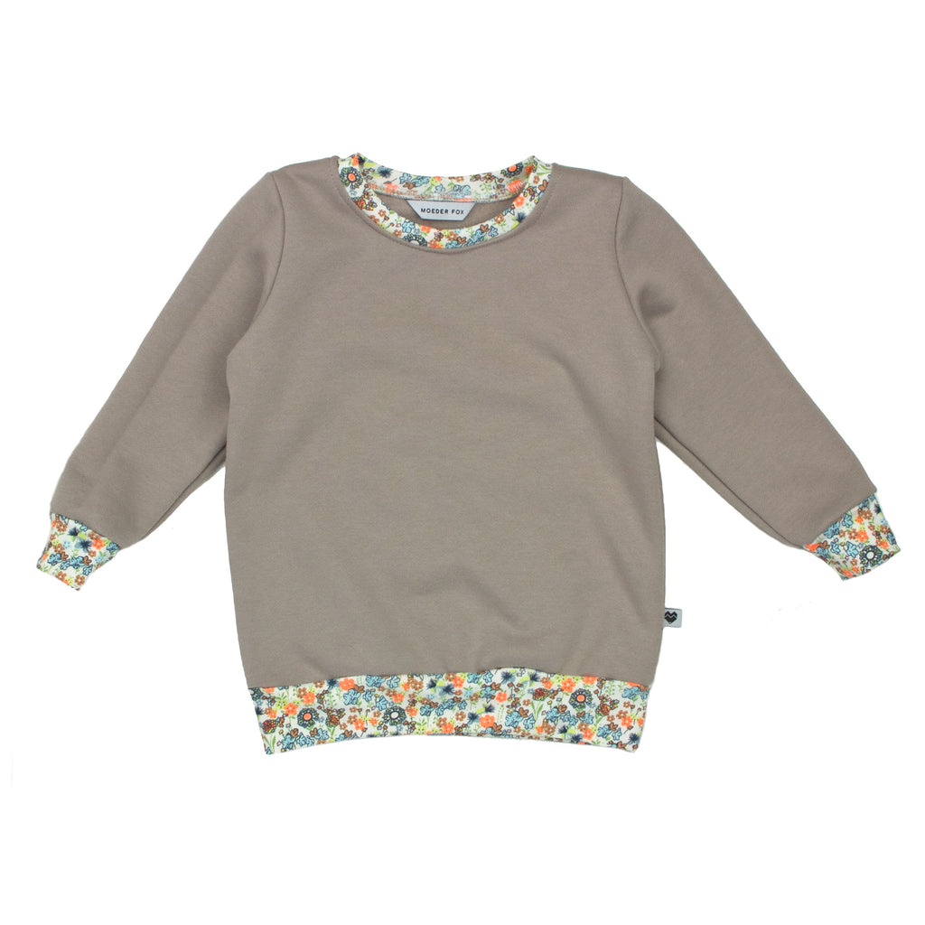 Organic Cotton Fleece Sweater - Essentials Range - Natural Floral