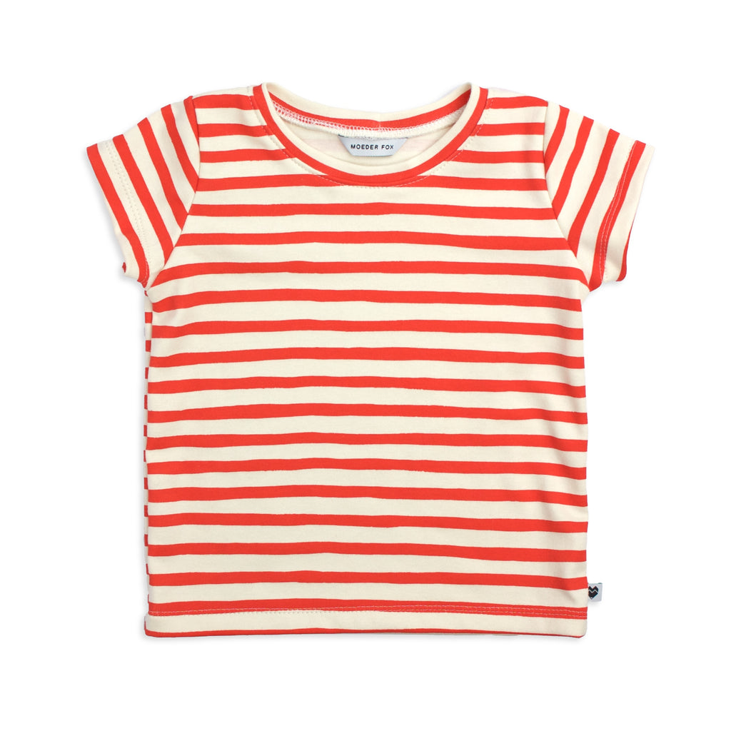 Organic Kids T Shirt - Red Stripes| Handmade in Australia | Moeder Fox