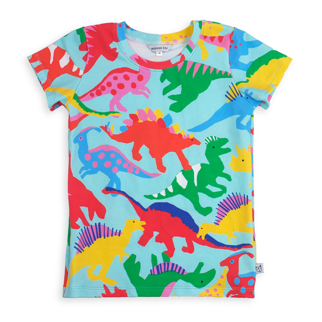 kids handmade tshirt, dinosaur pattern with bold colours