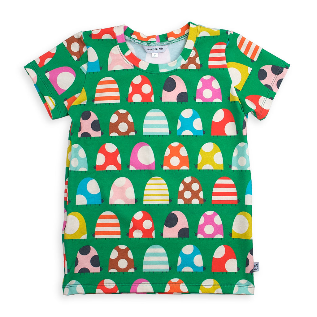 kids handmade tshirt, colourful beetles, unisex kids clothing