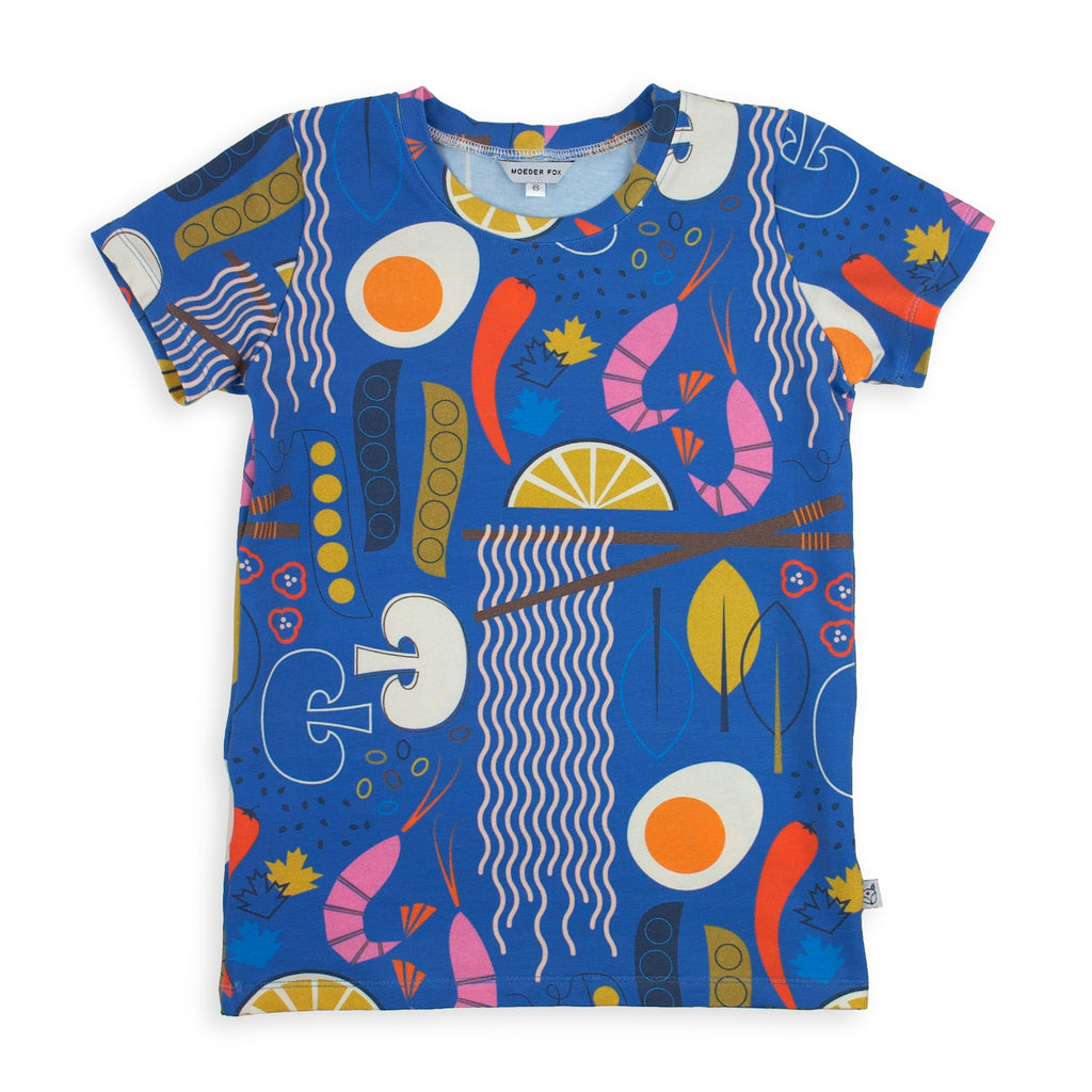 kids handmade tshirt, ramen noodles, bold and colourful unisex kids clothing