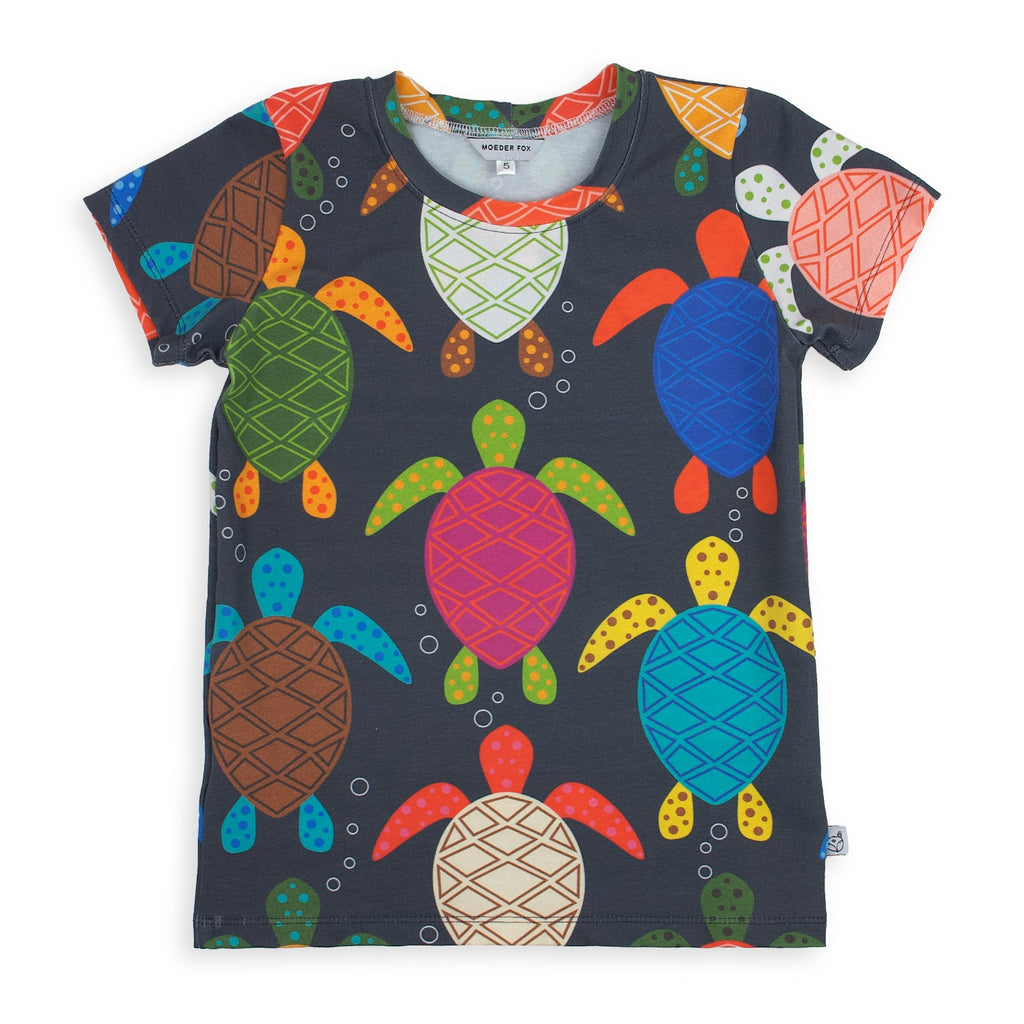 kids handmade tshirt, sea turtles, bold and colourful unisex kids clothing