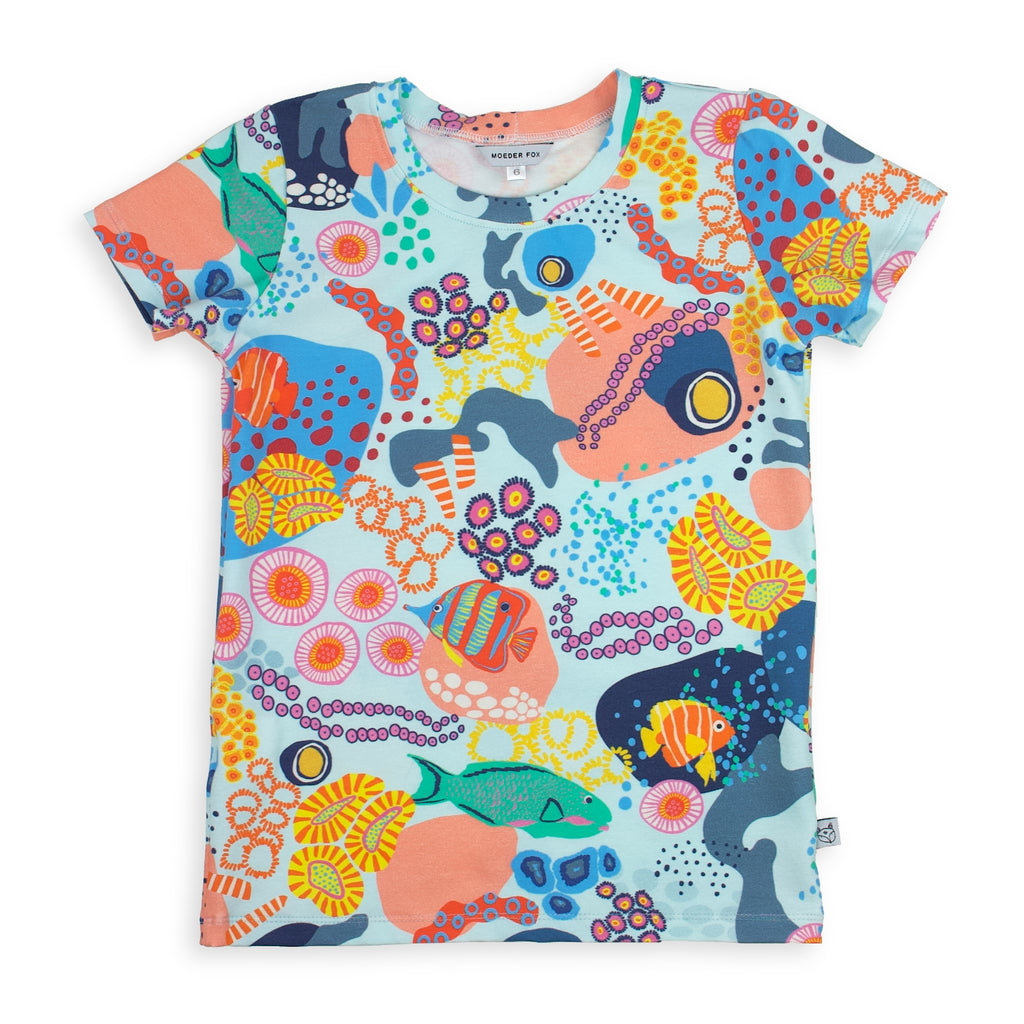 kids handmade tshirt, under the sea, coral reef, fish print, bold and colourful unisex kids clothing
