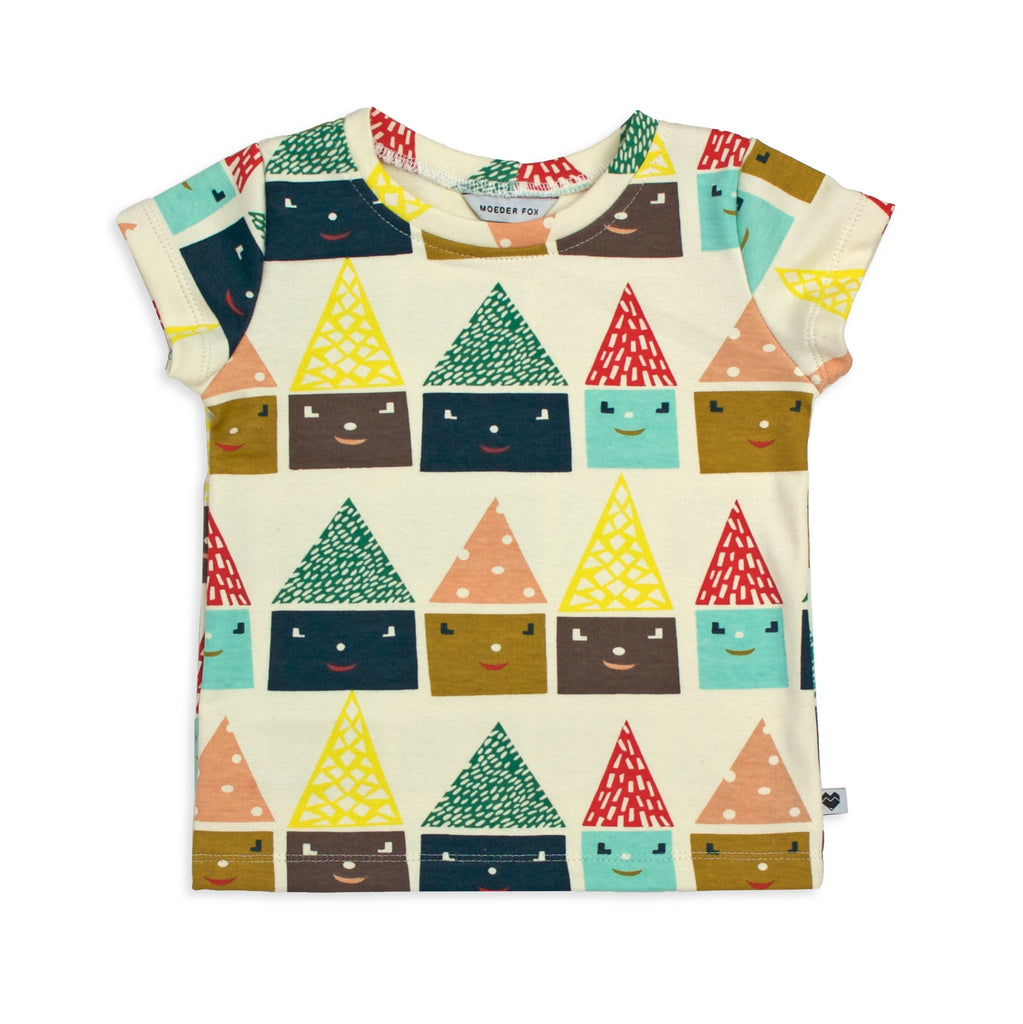 Organic Kids T Shirt - Happy Homes | Handmade in Australia | Moeder Fox