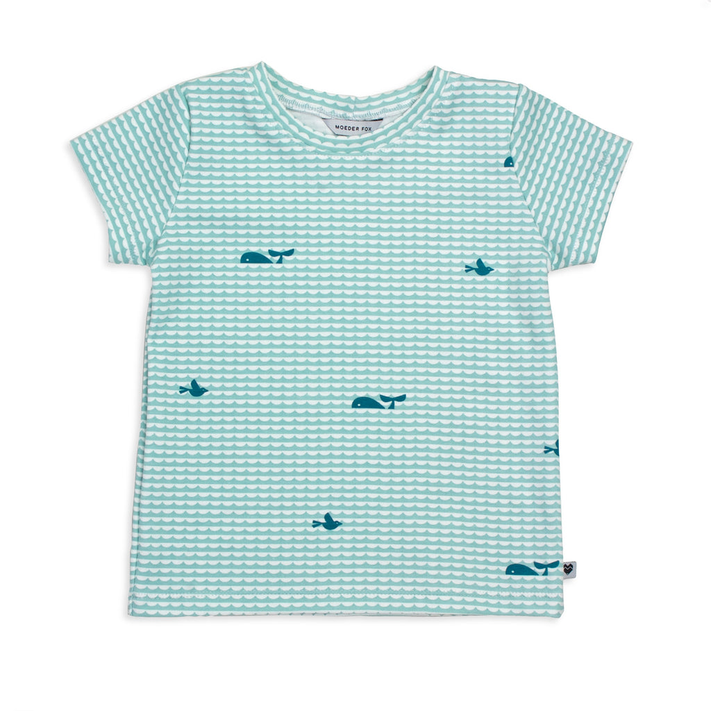 Organic Kids T Shirt - Whales In The Sea | Handmade in Australia | Moeder Fox