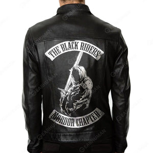 Men 2D Printed Leather Jacket The Black Riders Mordor Chapter