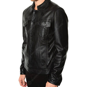 Men 2D Printed Leather Jacket Biker Born To Be Free
