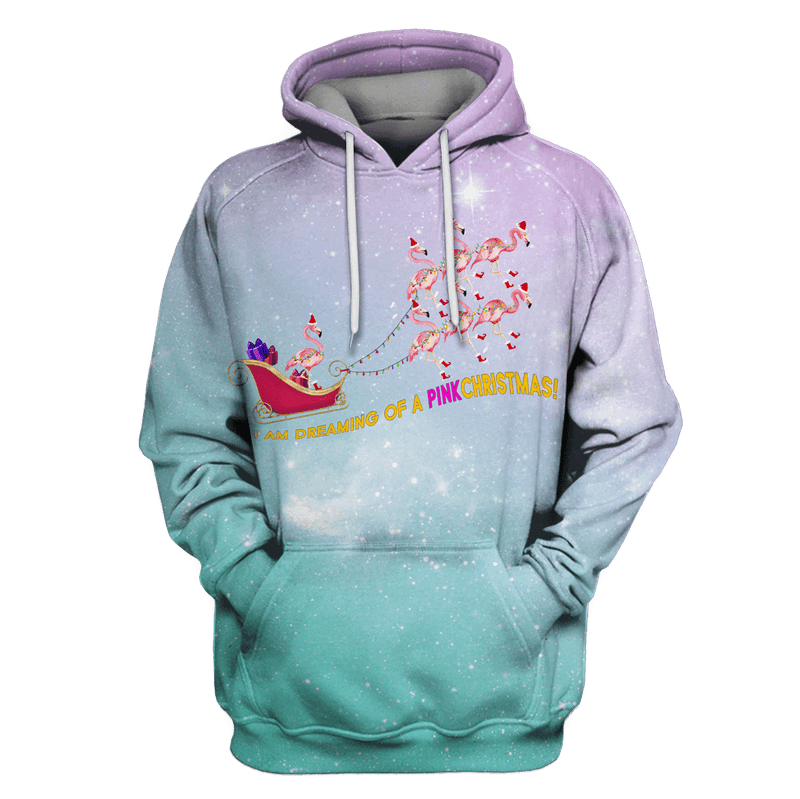 3D I am dreaming of a pink christmas  Tshirt - Zip Hoodie