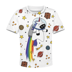 3D Unicorn with planets  Kid Full-Print Hoodie T-shirt Apparel