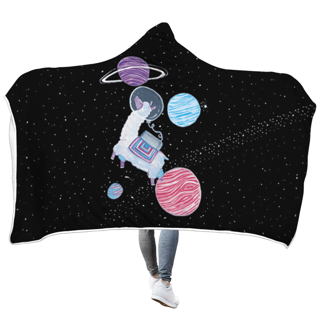 Llama with planets Custom Hooded Blanket