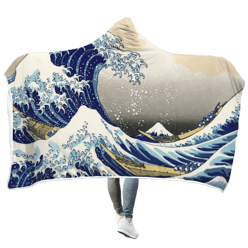 3D  Big wave surfing  Full-Print Hooded Blanket