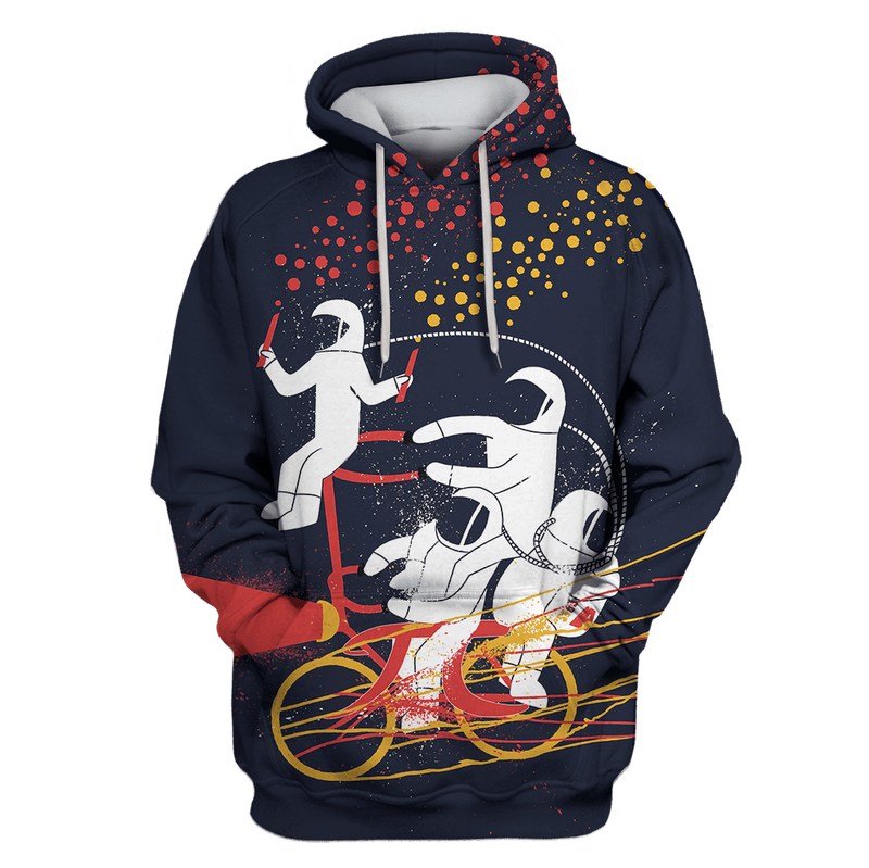 3D Astronauts are riding Bicycle  Full-Print T-shirt - Hoodie