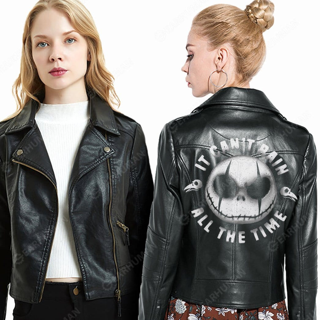 Gearhuman Women 2D Printed Leather Jacket It Can't Rain All The Time