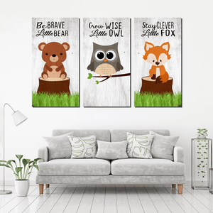 Woodland Animals Canvas For Kid Room Decor