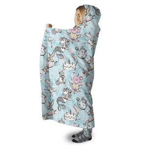 3D Unicorn and pets   Full-Print Hooded Blanket