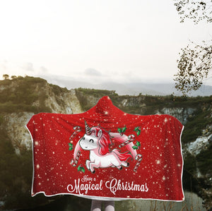 3D Christmas Unicorn Full-Print Hooded Blanket