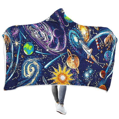 3D Planets in the space  Full-Print Hooded Blanket
