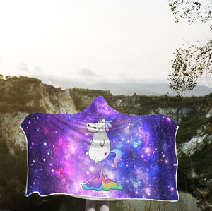 3D Unicorn Out Space Full-Print Hooded Blanket