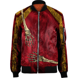 3D  skull Nylon-blend Bomber Jacket Apparel