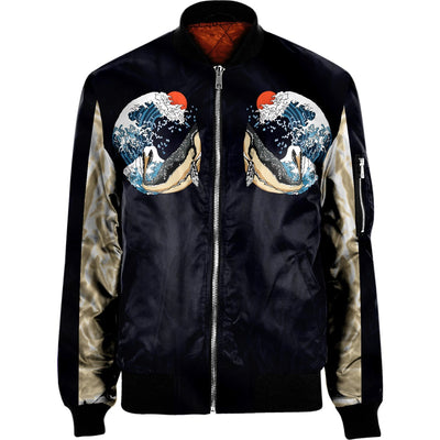 3D Japanese Whale BOMBER JACKET
